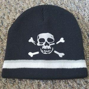 Other - Boys Black Gray White Striped Skull Beanie Hat OS